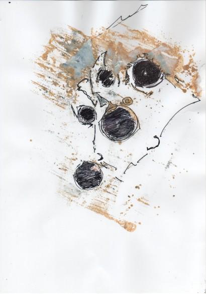 Présences - (Encres et stylo bille) papier photo - 2010