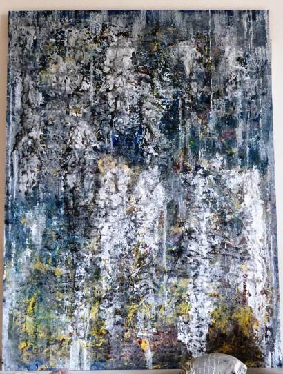 Rivière (encre et acryl) carton-bois - 2015 format 121/91 cm