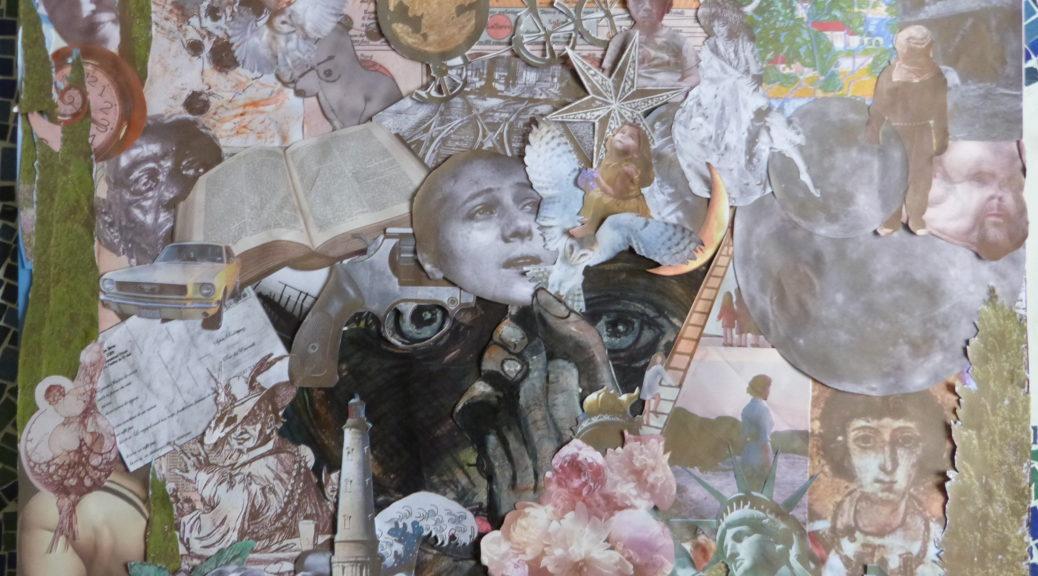 « Collage de convalescence » 70 x 50 cm. L'Etoile du monde, en référence à une gravure originale de Onuma Nemon.